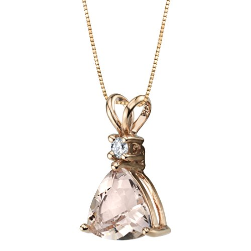 (14K Rose Gold Genuine Morganite and Diamond Trillion Cut Pendant 1.75 Carats)