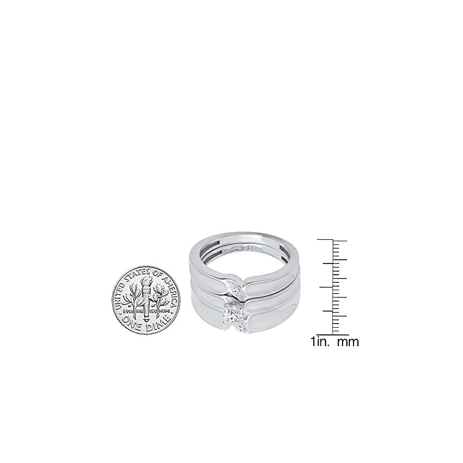 0.09 Carat (ctw) 10K White Gold Round Cut White Diamond Men & Women's Engagement Ring Trio Bridal Set