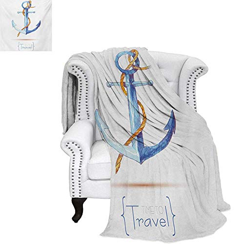 warmfamily Anchor Summer Quilt Comforter Watercolors Anchor and Rope Time to Travel Classic Sail Emblem Drogue Voyage Digital Printing Blanket 60