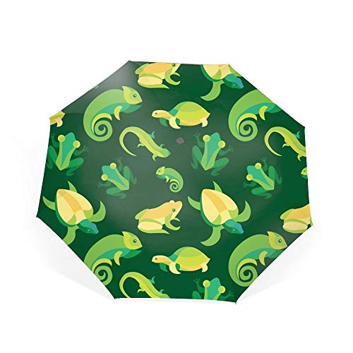 Travel Umbrella Compact Automatic Open Close Folding Frogs And Reptiles Umbrellas fit Golf Purse Backpack Wind Resistant for Men and Women ()