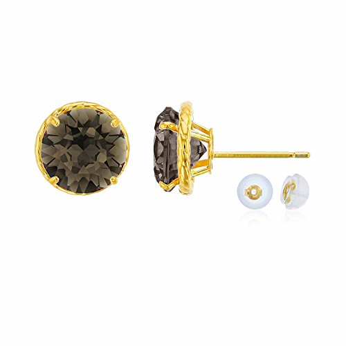 14K Yellow Gold 7mm Round Smokey Quartz Rope Frame Stud Earring with Silicone Back ()