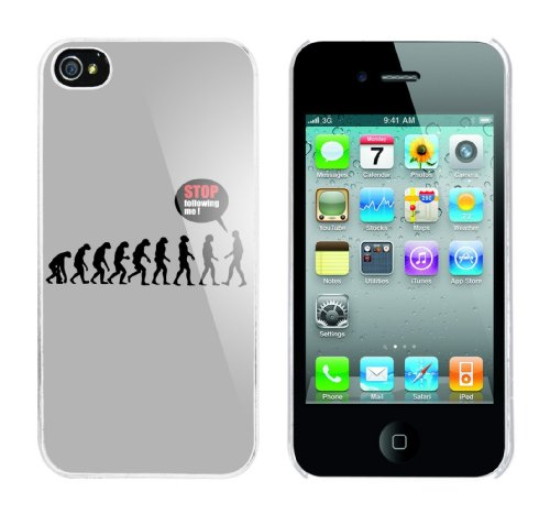 Iphone 4 Case Stop following me Evolution Rahmen weiss