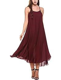 Women's Casual Spaghetti Strap Halter Chiffon Sundress Long Maxi Beach Party Dresses