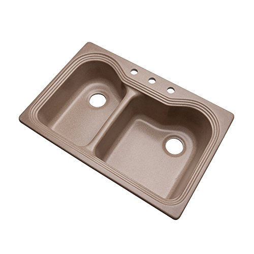 Dekor Sinks 56304Q Buckingham Composite Granite Double Bowl Kitchen Sink with Three Holes, 33-Inch, Natural