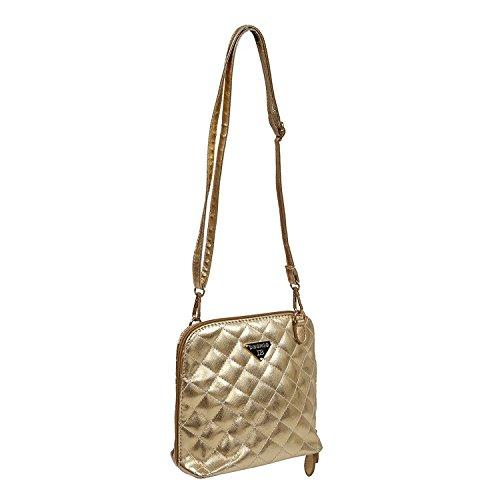 TOOGOO(R) Bolso de Las mujeres de venta calientes de cuadros pequenos de concha Bolso de cuero de mensajero de moda de Crossbody para las mujeres - Violeta Oro
