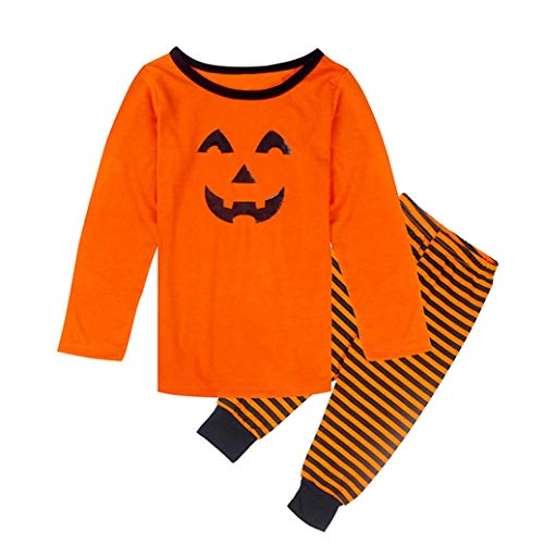 Dvd 120 Elf (SUNTEAMO Halloween Pumpkin Family Kid Boy Girl Pajamas Set Striped Sleepwear Nightwear (Orange, 130))