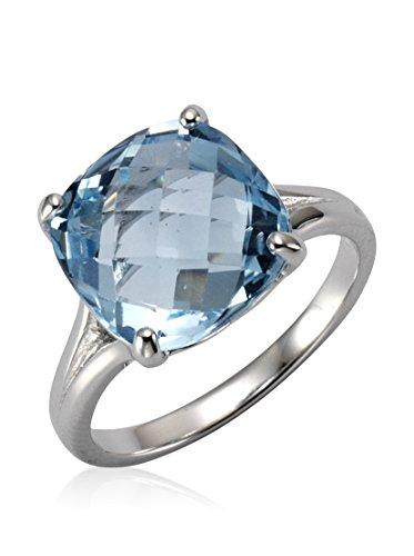Zeeme Gemstones Damen Ring 925/- Sterling Silber Glänzend Blautopas beh. weiß 358271173