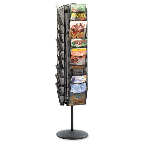 Onyx Mesh Rotating Magazine Display, 30 Compartments, 16-1/2w x 66h, Black, Sold as 1 Each ()