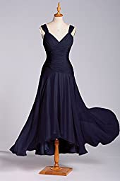 Formal Pleated Straps A-line Tea Length Chiffon Mother of the Bride/Groom Dress long, Color Navy Blue ,22W