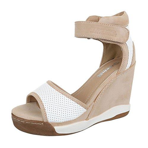 Ital-Design - Sandalias de vestir de Material Sintético para mujer beige blanco