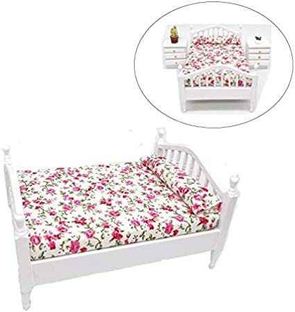 1:12 Dollhouse Miniature Furniture Flower Bed Bedroom Furniture With Bedding ^