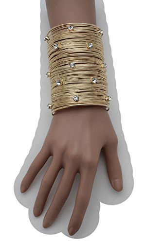 TFJ Women Fashion Jewelry Metal Wrist Cuff Bracelet Long Strings Stripse Fancy Bling Rhinestones Gold