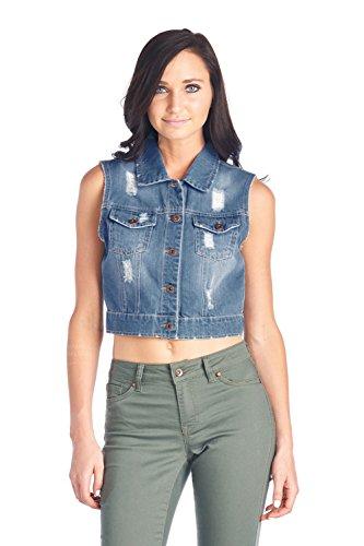BLUE Womens Denim Jacket Sleeveless product image