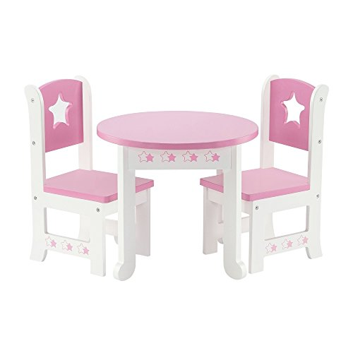 Emily Rose 18 Inch Doll Furniture | Lovely Pink and White Table and 2 Chair Dining Set | Fits American Girl Dolls (Star Theme) (American Girl Dolls Chair)