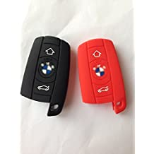 2pcs Protective Silicone Remote Key Case Cover Chains Bag Key Fob Skin Key Jacket Key Protector for BMW X5 X6 Housing