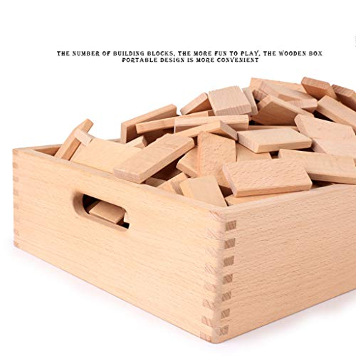 ZYN Children's Building Blocks Dominoes Creative Educational Toys Kindergarten Teaching Aids Beech Safe and Unpainted (Color : Wood Color (300 Pieces)) by ZYN (Image #3)