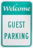 "SmartSign Aluminum Sign, Legend ""Welcome Guest Parking"", 18"" high x 12"" wide, Green on White"