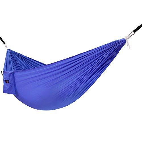 Paz Hammock La - Yes4All Single Lightweight Camping Hammock with Strap & Carry Bag – Nylon Parachute Hammock/Lightweight Portable Hammock for Camping, Hiking (Blue)