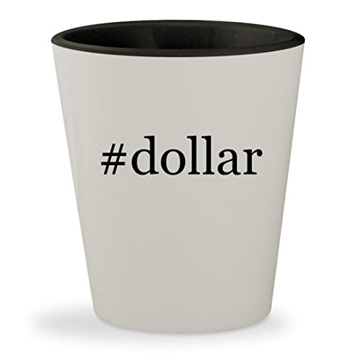 #dollar - Hashtag White Outer & Black Inner Ceramic 1.5oz Shot Glass