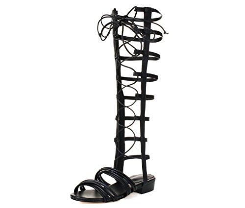 Comfort Piatti Donna Alta Sandali Da Alti Con Romani Fibbia Nero Black 34 Sandali Gladiatore Sandali Oro q5xF8B8H