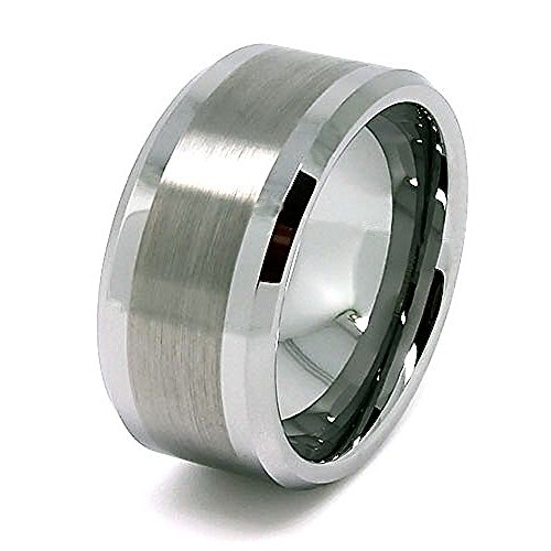 Unique 10mm Great Satin Center Tungsten Carbide Wedding Band Size 16 - Carbide Chip