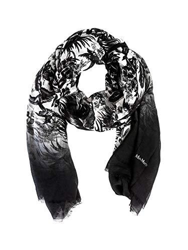 Max Mara Studio Marus Printed Modal & Linen Scarf One Size Black