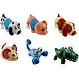 Set of 6 Wind Up Animals for Kids (Includes Pig, Mouse, Dog, Scorpion, Crocodile, Puppy)