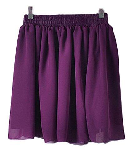 Womens Basic Versatile Flared Stretchy Casual Skater Skirt (Dark Purple)