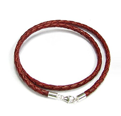 Dreambell 925 Sterling Silver Red Braided Bolo Round Natural Leather 3mm Choker Necklace 18 Inches For European Bead Charms