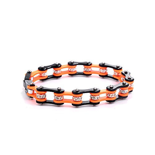UNISEX Jewelry Hetal Stainlss Steel Motorcycle Bike Chain Orange Bracelet Cuff Bead Bracelet Bicycle wristband link Bangle from Buleilimiter