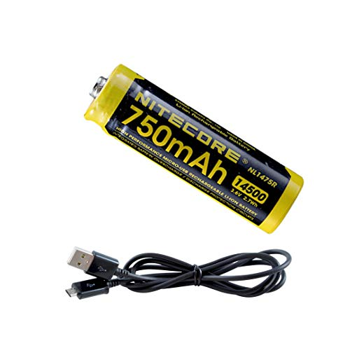 NITECORE NL1475R 750mAh 14500 Built-in Micro-USB Rechargeable Li-ion Battery with Lumen Tactical Charging Cable