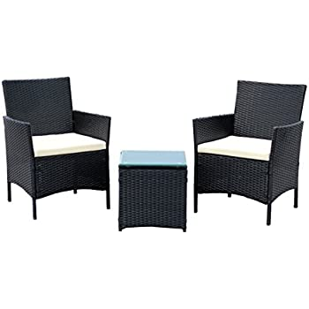 ids home 3 piece compact outdoorindoor garden patio furniture set black pe rattan - Garden Furniture 3 Piece