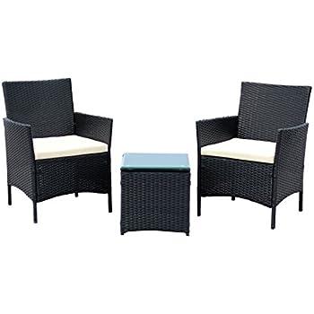 IDS Home 3 Piece Compact Outdoor/Indoor Garden Patio Furniture Set Black PE  Rattan