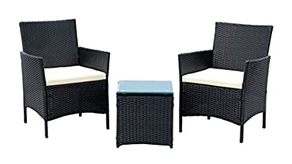 IDS Home 3-Piece Compact Outdoor/Indoor Garden Patio Furniture Set Black PE  Rattan - Amazon.com: IDS Home 3-Piece Compact Outdoor/Indoor Garden Patio