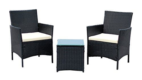 IDS Home 3-Piece Compact Outdoor/Indoor Garden Patio Furniture Set Black PE Rattan Wicker Seat White Cushions (Furniture Outside Set)