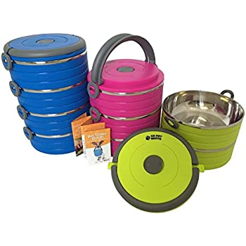 Healthy Human Go Pet Bento - Premium Stainless Steel Travel Bowls for Pets - Reusable Portable Food and Water Bowl Set for Dogs or Cats - 3 Size Varieties and 3 Color Options Available - Small Pink