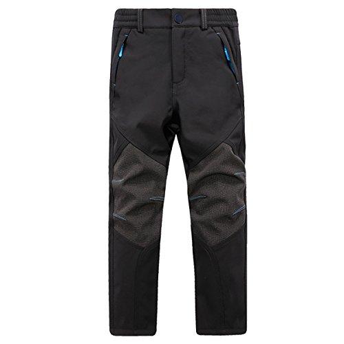 BUAAM Men's/Women's/Girl's/Boy's Winter Sportswear Fleece layer Skiing Pants 16 Black