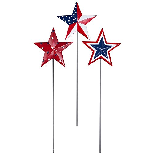 MS HOME Set of 3 Patriotic American Flag Inspired Barn Star