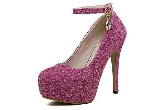 Women's Sexy Pendant Platform Stiletto High Heels Ankle Strap Wedding Pumps Shoes (Pink-34/3.5 B(M) US (Timeless Satin Pendant)