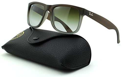 Ray-Ban RB4165 Justin Unisex Rectangular Sunglasses (Rubber Brown On Grey Frame/Green Gradient Lens 854/7Z, - Justin Ban Grey Ray