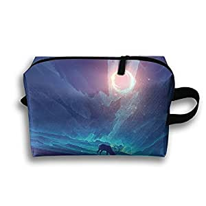 Art Elk Sunlight Fields Solar Eclipse Travel Bag Portable Bag Toiletry Bag Canvas Bag Weekend Bag Multifunction Portable Toiletry Bag Organizer Storage