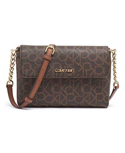 Calvin Klein Key Item Monogram Flap Chain Crossbody, Brown/khaki/luggage saffiano