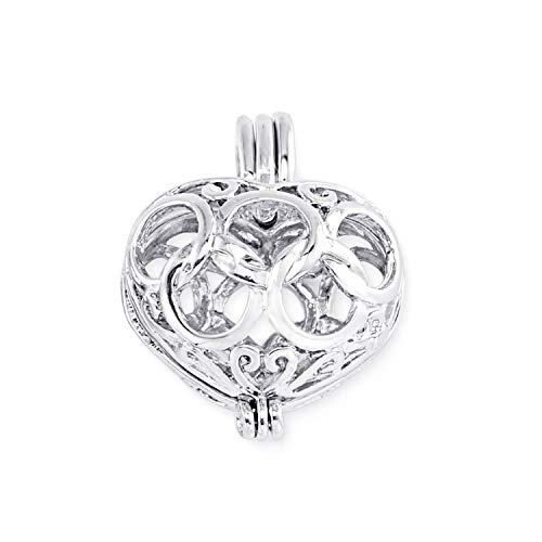 1 Pc Heart Cubic Pearl Cage Locket Pendant Vintage Aromatherapy Mermaid Essential Oil Diffuser Necklace Locket for DIY Jewelry,A14