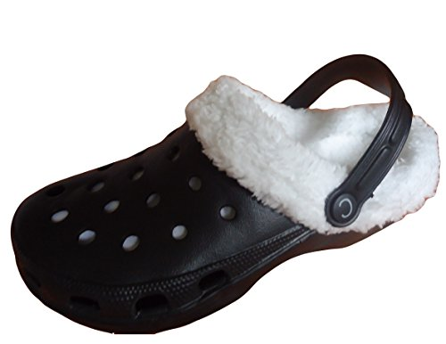 Fur Lined Clogs Mens Ladies Winter Hospital Furry Mule Style Shoes Lightweight Slippers Slip On Cloggis Flats black with white fur Zd3pxLJlzI