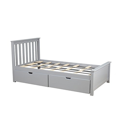Max & Lily Solid Wood Twin-Size Bed with Under Bed Storage Drawers, Grey
