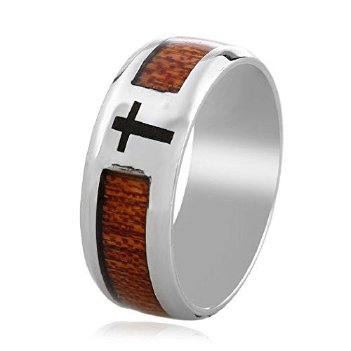 Vintage Cross Biker Band Rings Wedding For Men Women Wood Carbon Fiber Inlay Jewellery By SUNSCSC - Fiber Carbon Wood