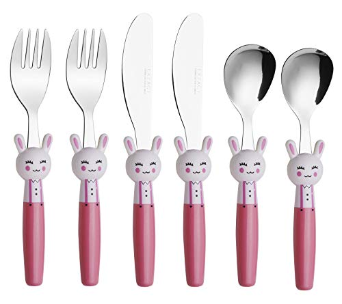 Exzact Children's Flatware 6pcs Set - Stainless Steel Cutlery/Silverware - 2 x Forks, 2 x Safe Dinnerknives, 2 x Dinner Spoons - Rabbit Design Handles
