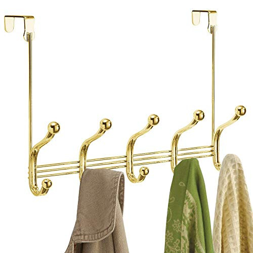 (mDesign Decorative Over Door 10 Hook Metal Storage Organizer Rack for Coats, Hoodies, Hats, Scarves, Purses, Leashes, Bath Towels, Robes, Men and Womens Clothing - Gold Brass)