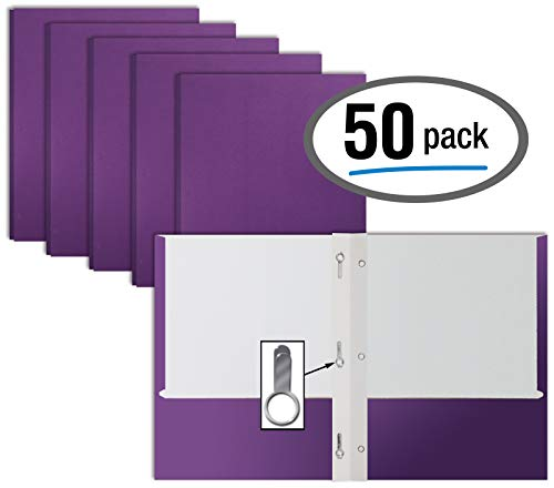 Purple Paper 2 Pocket Folders with Prongs, 50 Pack, by Better Office Products, Matte Texture, Letter Size Paper Folders, 50 Pack, with 3 Metal Prong Fastener Clips, Purple ()