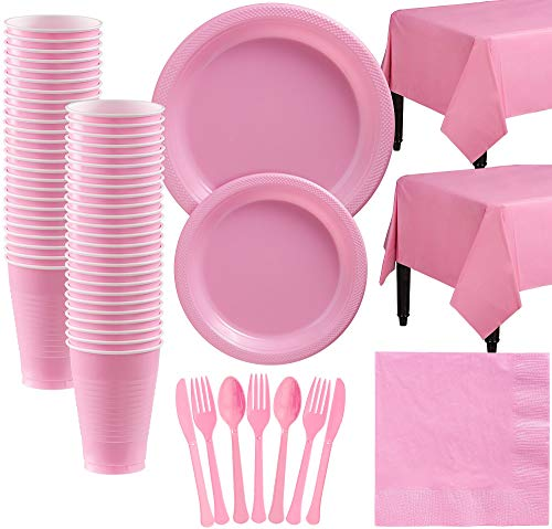Amscan New Pink Plastic Tableware Kit for 50 Guests, Party Supplies, Includes Table Covers, Plates, Cups and -